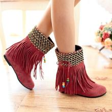 2017 New Autumn And Winter National Wind Retro Short Fringed Boots High Heel Women Booties Pink Brown Camel Black