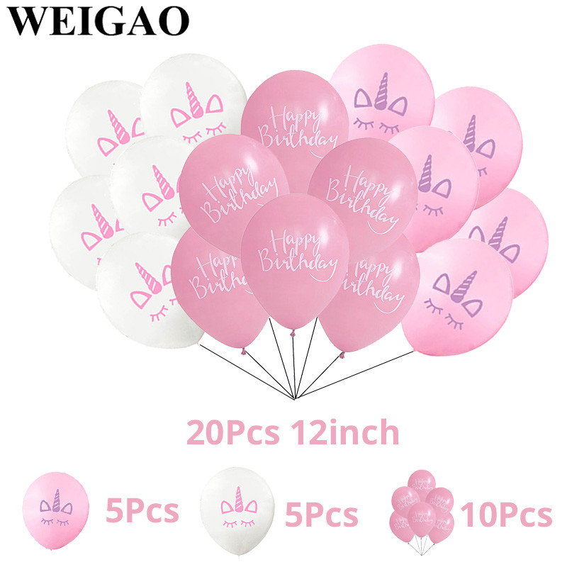 WEIGAO 20Pcs Happy Birthday Party Balloons Unicorn Latex Ballons 1st Kids Gifts Baby Shower Event Supplies