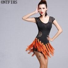 ONTFIHS Modern Ballroom Latin Dance Tassel Lace Dress Green Fringe Salsa Tango Dance Wear Black Performance Stage Wear