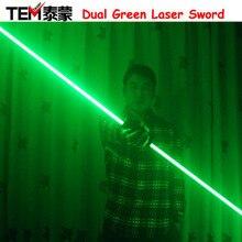 Бесплатная доставка Мини двойной направление зеленый лазерный меч для лазерного человека шоу 532nm 200 МВт двуглавый широкий луч лазера
