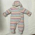 2016 nueva llegada del bebé de los mamelucos del otoño y el invierno, baby girl boy Algodón de moda Botón Cubierto Con Capucha Carácter ropa de bebé