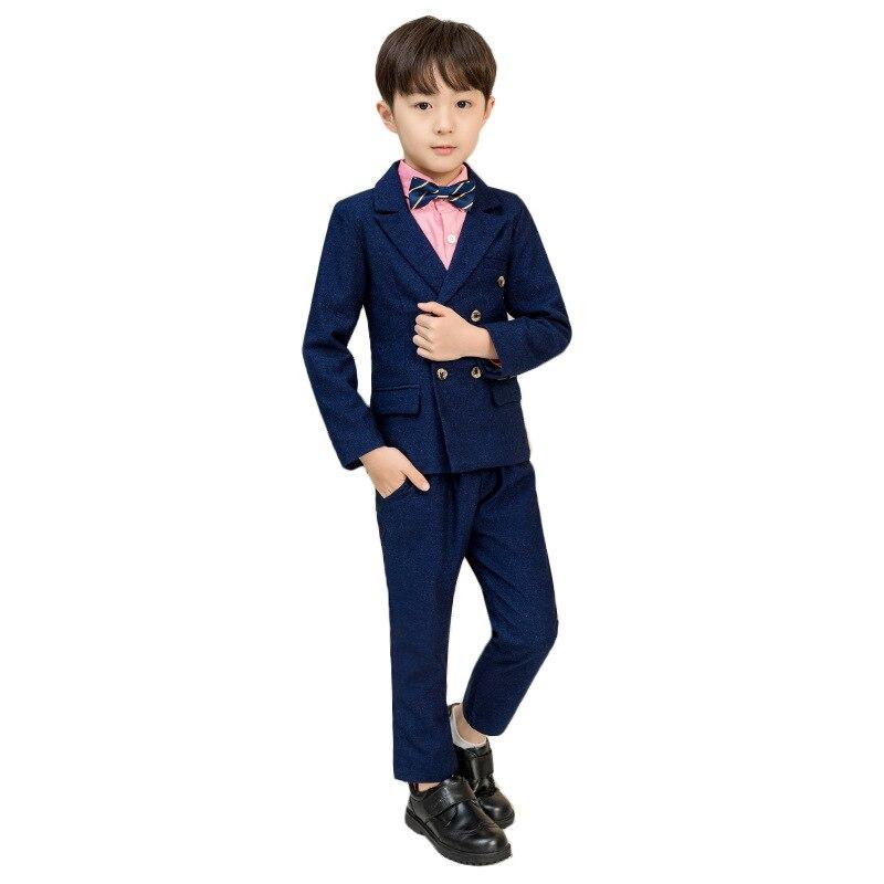 Kids Dark Blue tuxedo wedding suit Clothing Sets Wedding Party Boys Suits School Uniforms GH415