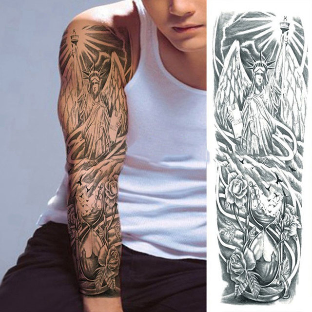 1 Sheets Full Arm Leg Extra Large Temporary Tattoos, Body Art For Men And Women - Wolf,Tiger,Bear,Warrior,Tribal Symbol 1