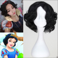 New Short Black Curly Synthetic Princess Snow White Wig Cosplay Anime Wig 5.6