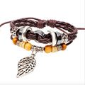 2017 new design Multilayer Lace-up Leather popular accessories bead Metal feathers Adjustable size Bracelets for men