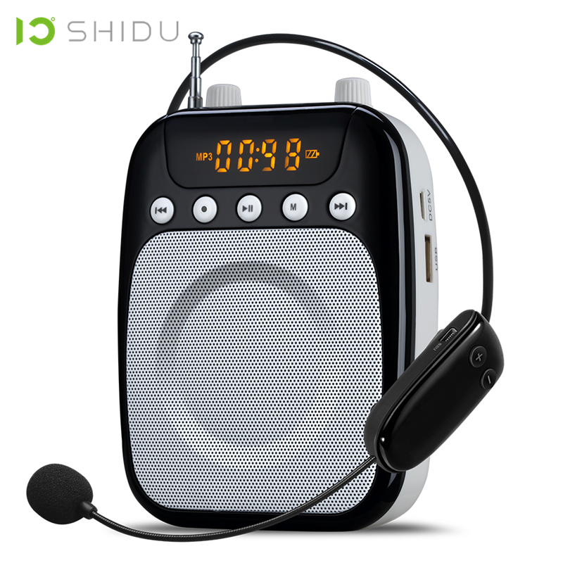 SHIDU Wireless Portable Voice Amplifier UHF Mini Audio Speaker FM Stereo Radio For Teachers Tour Guide Yoga Instructors S318