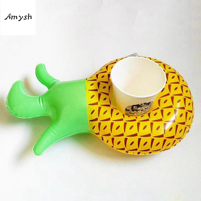 Amysh Summer Inflatable Toys cute Drink Can Holder PVC Inflatable Floating pineapple Toy Swimming Pool Bathroom Beach Water Toys