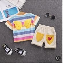 Hot Cute Childrens Clothing Suit 2019 Summer New Rainbow+Wings Short Sleeve Kids Clothes Cotton Baby Boys Girls Set SY-F192239