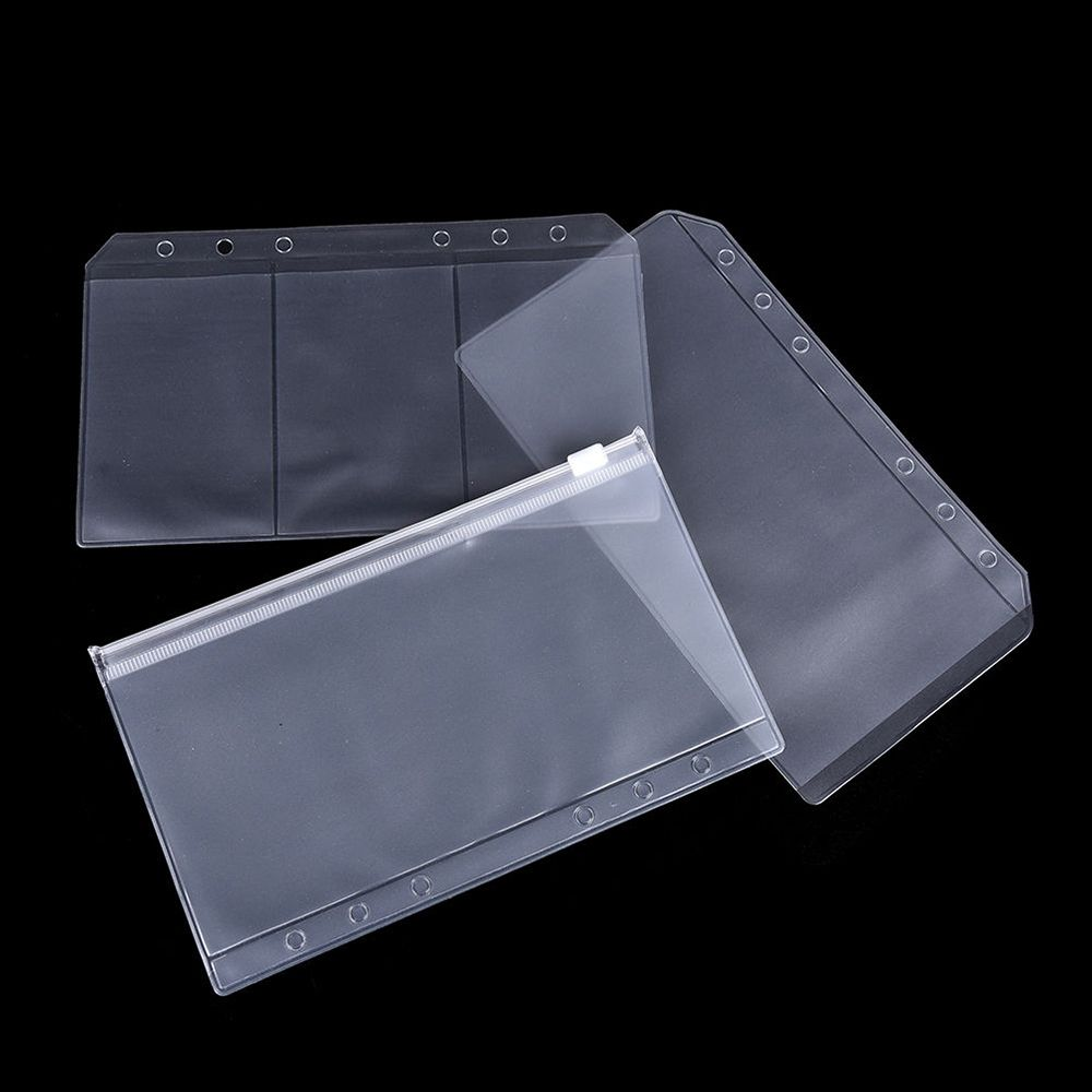 1Pcs  A5/A6 Transparent Zip Lock Envelope Binder Pocket Refill  Office School Supplies Pencil Bags For Girls