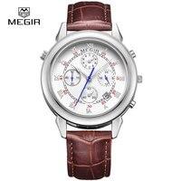 MEGIR עור האופנה גברים שעון קוורץ אנלוגי שעון יד בסגנון צבאי מקרית איש הכרונוגרף מותג שעונים לזכר 2013