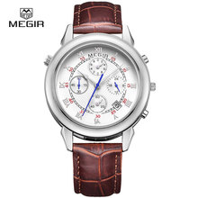 MEGIR moda męska skóra zegarek kwarcowy casual military style analogowy zegarek na rękę mężczyzna chronografu zegarki marki dla mężczyzn 2013