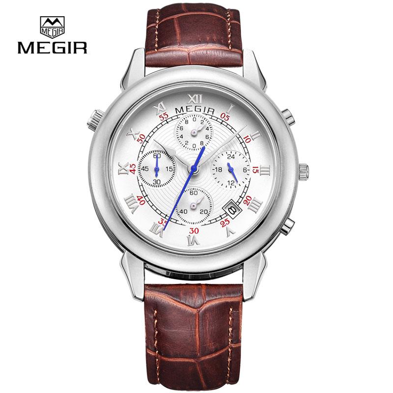 MEGIR men s fashion leather quartz watch casual military style analog wrist watch man chronograph brand