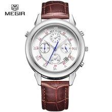 MEGIR мужская мода кожа кварцевые часы повседневная военный стиль аналоговые наручные часы человек хронограф наручные часы для мужчин 2013