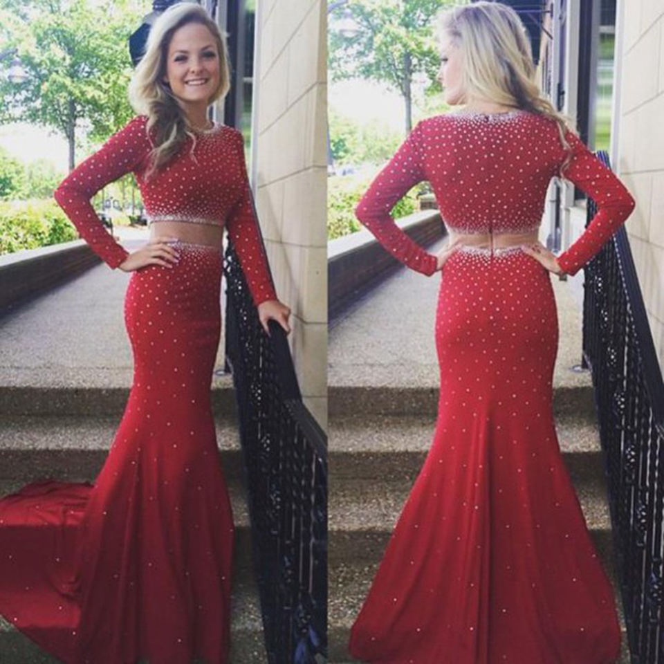 Vintage Two Piece Mermaid Prom Dresses Girls Beaded Tulle Red Prom