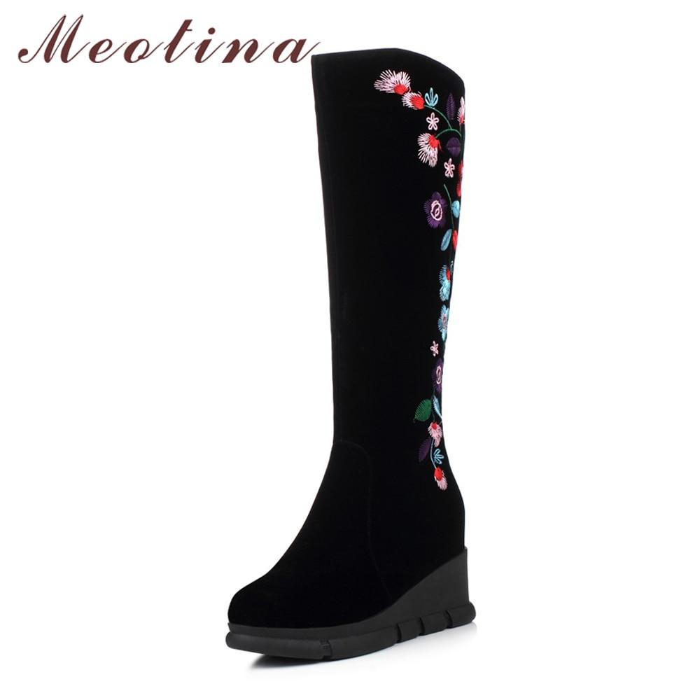 Meotina Winter Women Knee High Boots Embroidery High Heels Thigh High Boots Platform Wedges Boots Zip Increasing Heel Shoes 2018