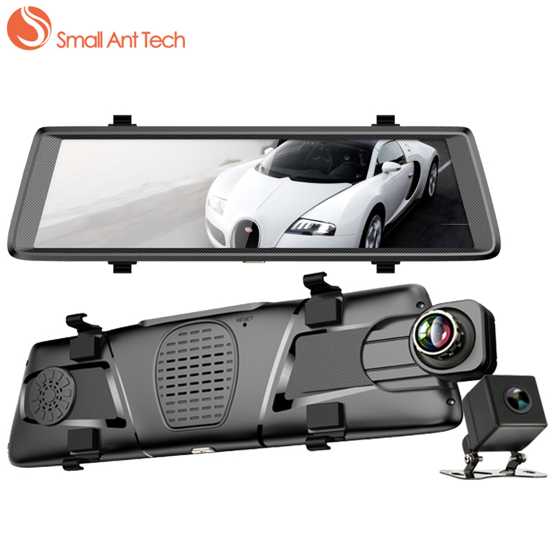 SmallAntTech Vehicle Car Camera Mirror DVR 10Inch Touch Screen Video Surveillance Rearview Recorder Dashcam Dash Dual Camera Cam 5 inch car camera dvr dual lens rearview mirror video recorder fhd 1080p automobile dvr mirror dash cam