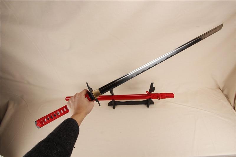 katana samuraj japonský meč boj samurajský nůž katana meč uhlíková ocel slitina tsuba měď seppa červená barva přímý