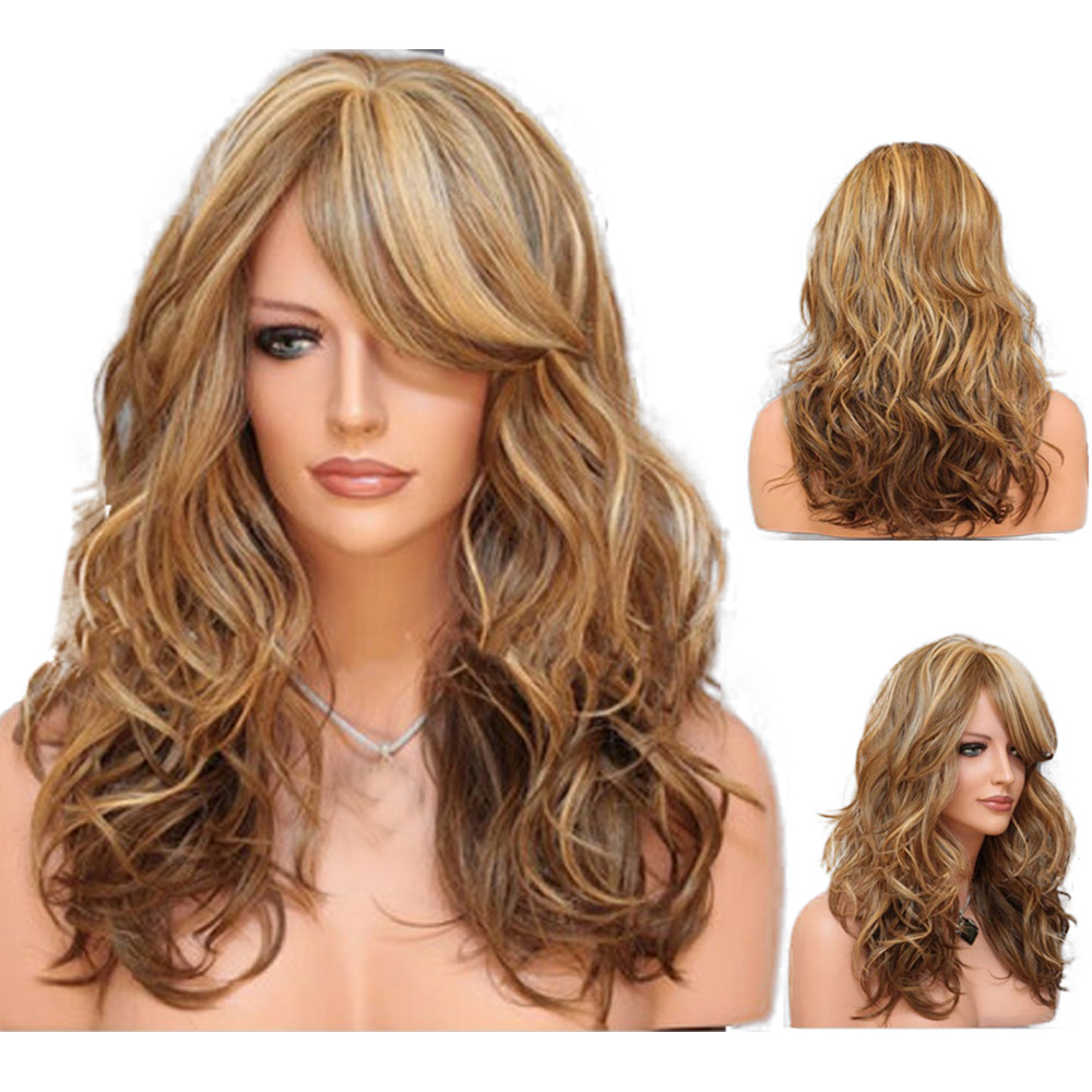 New False wig women wigs Heat Resistant Hair Blonde Long Curly Full Wig 0920 стоимость