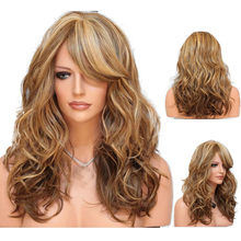 New False wig women wigs Heat Resistant Hair Blonde Long Curly Full Wig 0920(China)