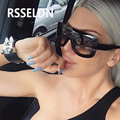 RSSELDN 2017 Newest  Women Sunglasses Square Glasses Vintage Big Frame Sun Glasses Shades Gradient  UV400 Sunglasses   Woman