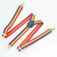 Новинка модные подтяжки свободного покроя в полоску цветов радуги с подтяжками для мужчин и женщин Clip-On y-обратно Регулируемый красочные