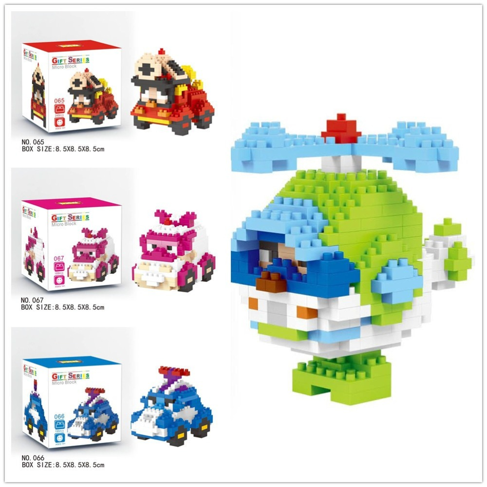 LNO Micro Blocks Korea Poli Mini Car Blocks Helicopter DIY Building Toys Juguetes Mini Cartoon Model Toys Kids Gifts 065-068 sue diy 065
