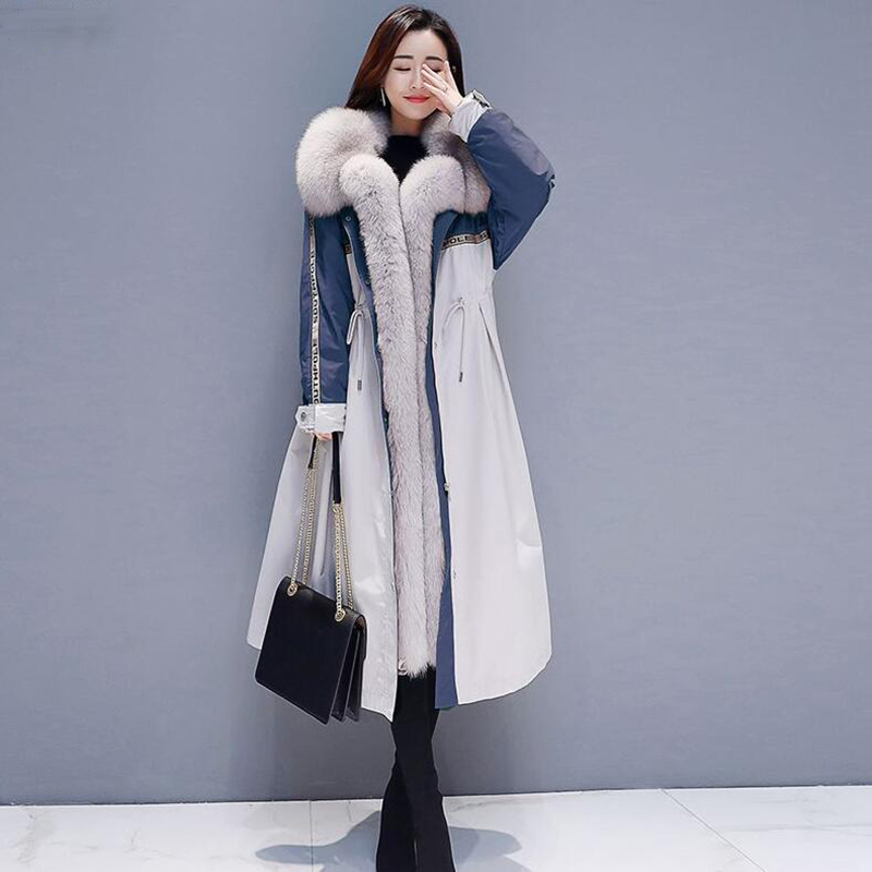 High Quality Winter Down Jacket 2019 Women Fashion Large Fur Collar Long Parka Down Coat Thick Warm Plus Size Snow Outwear