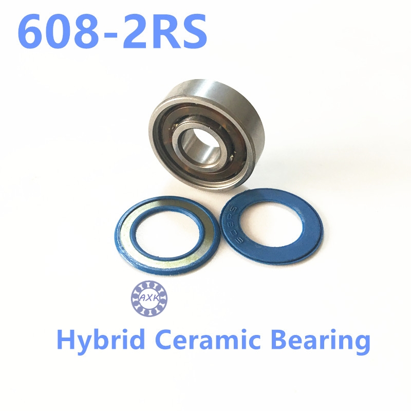 Free shipping Stainless Steel or Gcr15 Steel  608-2RS 608 hybrid ceramic deep groove ball bearing 8x22x7mm 608-2RS CB купить