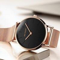 AESOP Waterproof Rose Gold Watch Women Quartz Watches Ladies Milanese steel strap Female Wrist Watch Girl Clock Relogio Feminino