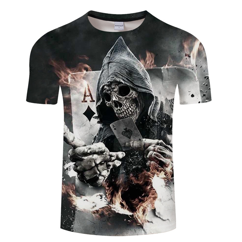 Summer youth men short-sleeved   t     shirt  , skull and bones poker cartoon printed men's 3d short sleeve   T  -  shirt  .