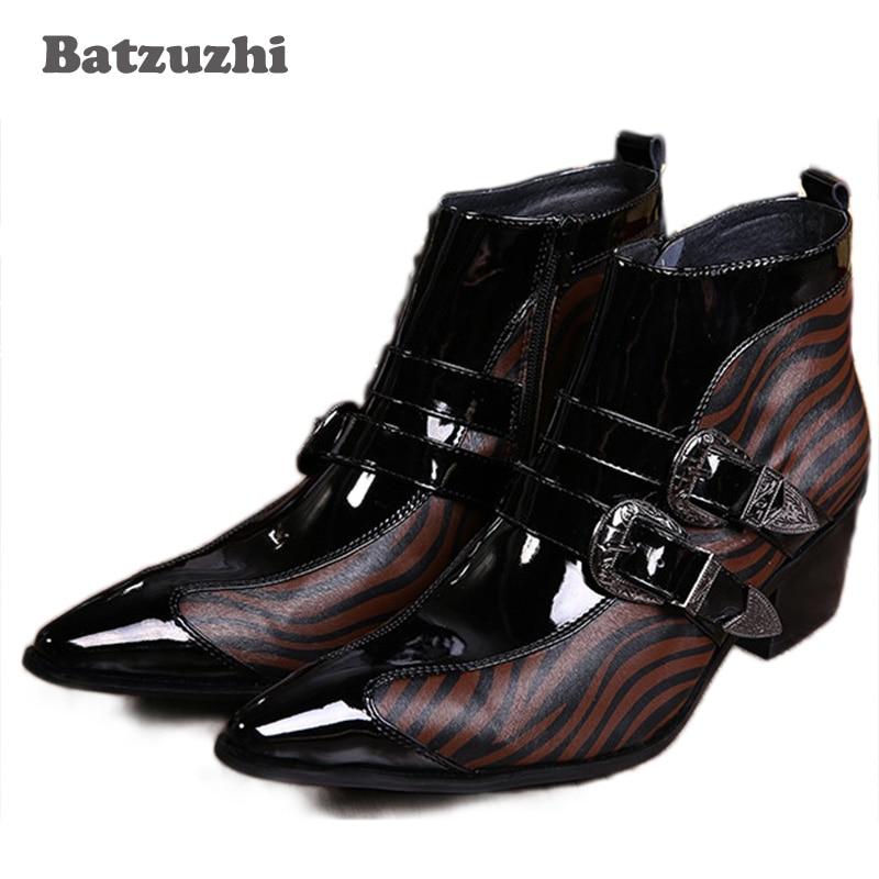 Batzuzhi Rock British fashion black buckles man's shoes, Casual Boots, Man Leather Boots, Business personality leather shoes MEN british high fashion leather shoes breathable sneaker fashion boots men casual shoes handmade fashion