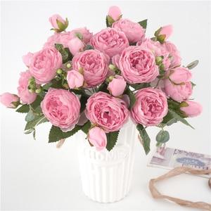 Image 5 - 5 cabezas grandes/ramo de peonías artificiales, ramo de peonías de seda, 4 flores de brotes, decoración del hogar de boda, flor de peonía Rosa falsa