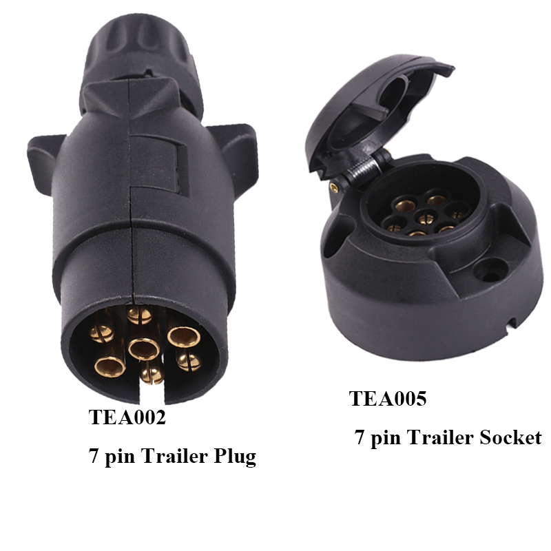 Image 1 - AOHEWEI Towing 1 pc 7 pin Trailer Plug Adapter and 1 pc 7 Pin Caravan Socket  12V 7 Way  European Car  Trailer Truck Connector-in Cables, Adapters & Sockets from Automobiles & Motorcycles