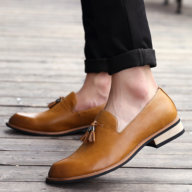 LAISUMK Luxury Brand PU Pointed Toe Business Brogue Shoes Men Dress Casual Soft Rubber Shoes Breathable Wedding Shoes 3 Colors in Formal Shoes from Shoes