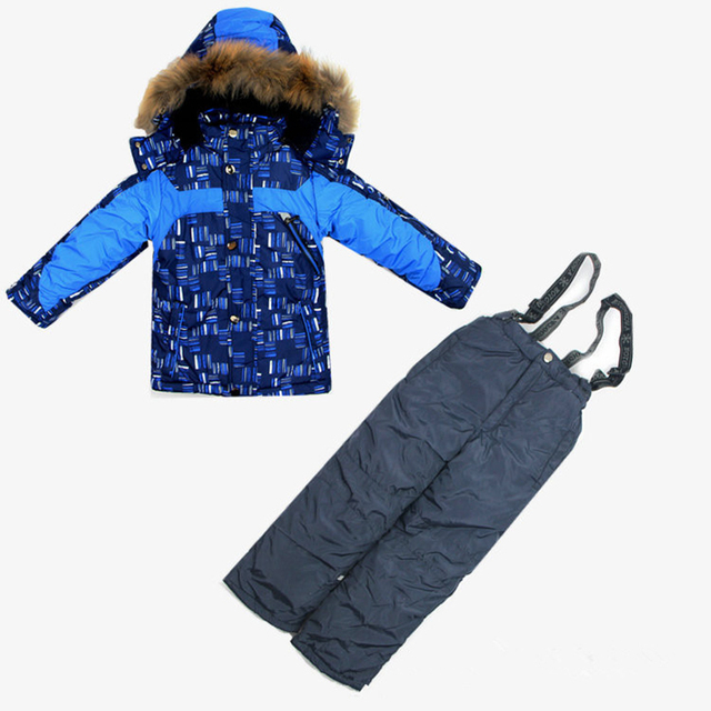2017 winter Children clothing set Baby boy Ski suit sport sets duck down parkas boy windproof warm coat fur Jackets+bib pants