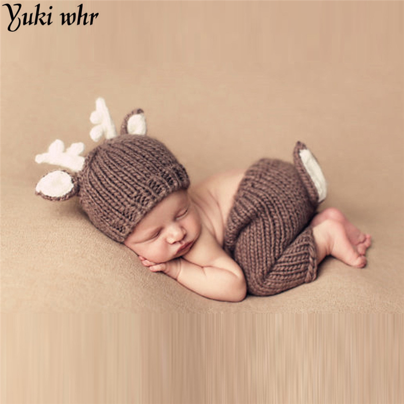 Deer Set Brown Color Design Hat Handmade Cartoon Costume Knitted Crochet photography props Newborn photo baby Caps Hats crochet baby costume set knit rabbit hat newborn photography props carrot hat pants 3 pieces set baby photo shoot accessories