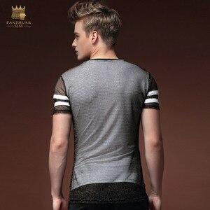 Image 2 - فانزوان شحن مجاني أزياء جديدة غير رسمية للرجال الذكور رقيقة شخصية الصيف قصيرة الأكمام مزدوجة الغزل تي شيرت ضيق 15597