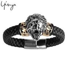 Мужские тканые браслеты в стиле панк с изображением Льва, черепа, орла, Лидер продаж, мужской браслет с подвеской в стиле стимпанк, скелет, браслет на цепочке, черные кожаные браслеты