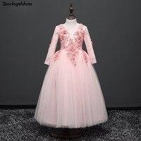 Elegant Pink Flower Girl Dresses For Weddings Long Sleeves Ball Gown Little Kids Evening Party Dress Pageant Dresses For Firls