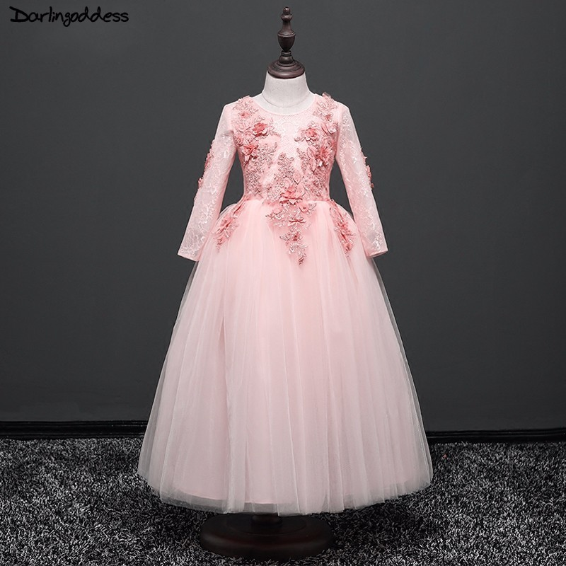 Elegant Pink   Flower     Girl     Dresses   For Weddings Long Sleeves Ball Gown Little Kids Evening Party   Dress   Pageant   Dresses   For Firls