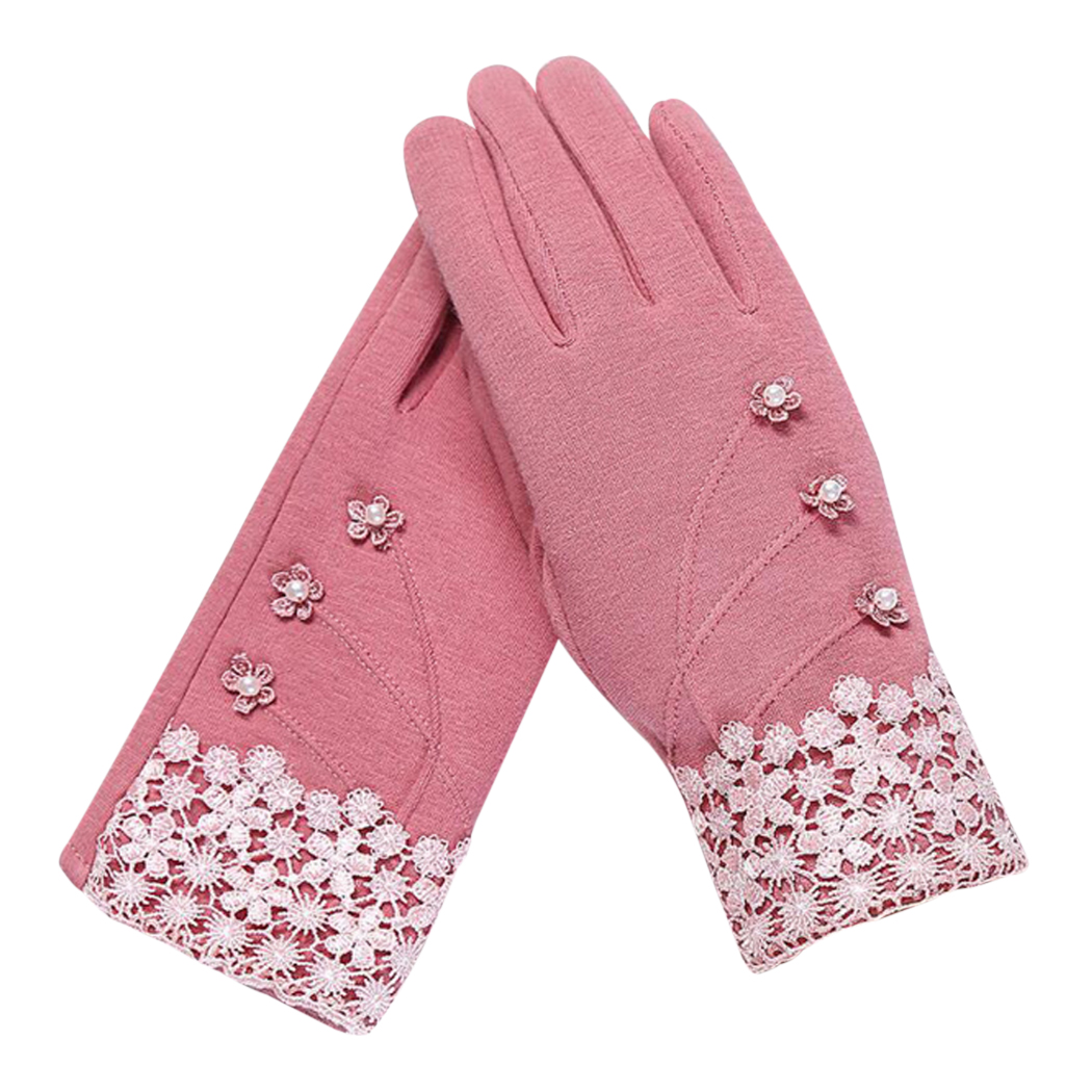 Elegant Women Lace Floral Gloves Winter Spring Cashmere Warm Button Touch Screen Glove Ladies Bow Full Finger Mittens Guantes