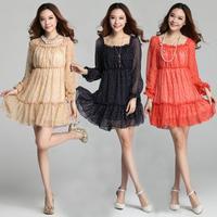 Plus Size Dress 2014 Autumn New Korean Thin Stitching Square Neck Pleated Long Sleeve Polka Dot Chiffon Dress Black Khaki Red