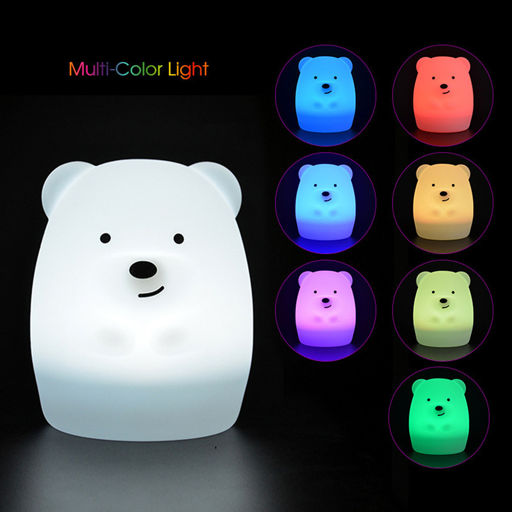SuperNight Cute Bear Dog Monkey Fox LED Night Light Touch Sensor Colorful Silicone Cartoon Table Lamp for Children Kids Baby (12)