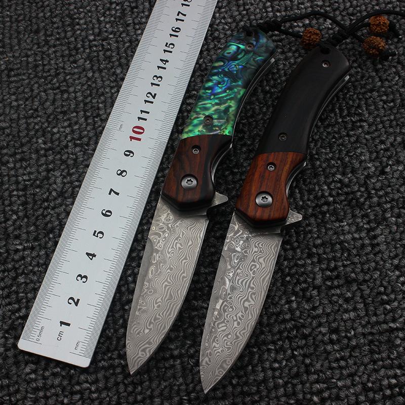 Damascus Blade Sandalwood or Abalone Handle Folding Knife Camping Survival Tactical Utility Knives Pocket Collection EDC tool handmade damascus steel blade pocket folding knife yellow brass abalone shell handle utility knife
