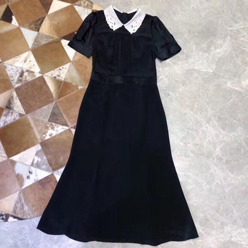 100 robe en soie pour les femmes broderie Maxi robe femmes noires robe Maxi a-ligne robe avec col rabattu