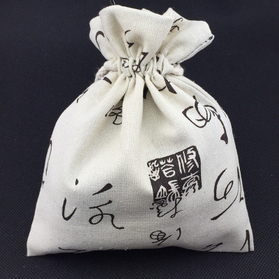 Large Chinese Word Drawstring Gift Pouch Cotton Linen Jewelry Bracelet buddha beads Packaging Crafts Coin Pocket Storage Bag