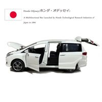 JACKIEKIM 1/32 Scale JAPAN Honda Odyssey MPV Sound&Light Diecast Metal Pull Back Car Model Toy For Gift/Kids/Collection