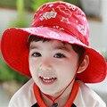 Envío rápido de la Alta Calidad de Corea Lindo Pescador Sombreros Accesorios de Los Niños Gorras de Niños Encantadores Sombreros Del Bebé de Impresión de Primavera, otoño