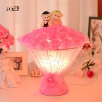 Art Deco Romantic Rose Cubs Table Lamps for Wedding Room Princess House Led E27 Bedside Lamp Decoracion Habitacion Infantil