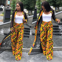 2017 New Hot And Winter Fashion Leisure Chiffon Jacket Wide Leg Pants Suit Two Pieces
